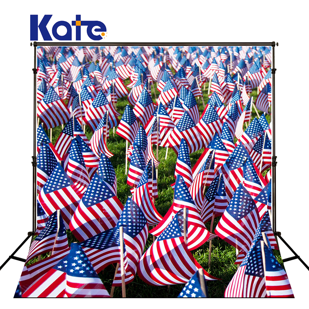 150Cmx200Cm(5Ftx6.5Ft) Kate Photographic Background Cotton American Flag Independence Day Retro Small Flags Background Dlr-2<br>