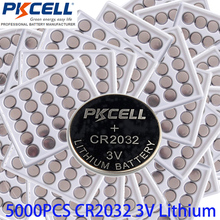 Wholesale bulk lot 5000Pcs*PKCELL 3V CR2032 Lithium Battery 5004LC BR2032 KCR2032 DL2032 ECR2032 EE6227 Button Coin Cell(China)