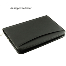 business a4 spiral leather file folder document manager bag zipper ipad card pocket calculator ring binder auto sales 637A
