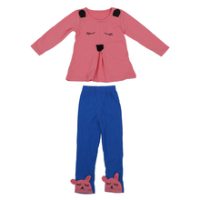 Baby Girls Kid Princess Bunny Rabbit Suit T-Shirt Clothes Pants Outfit 2PC Set Pink Rose Red 4 Size