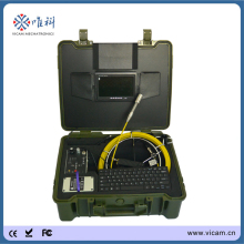 Pipe video inspection camera manufacturer! 30m fiberglass push rod sewer drain inspection camera with DVR recording,keyboard