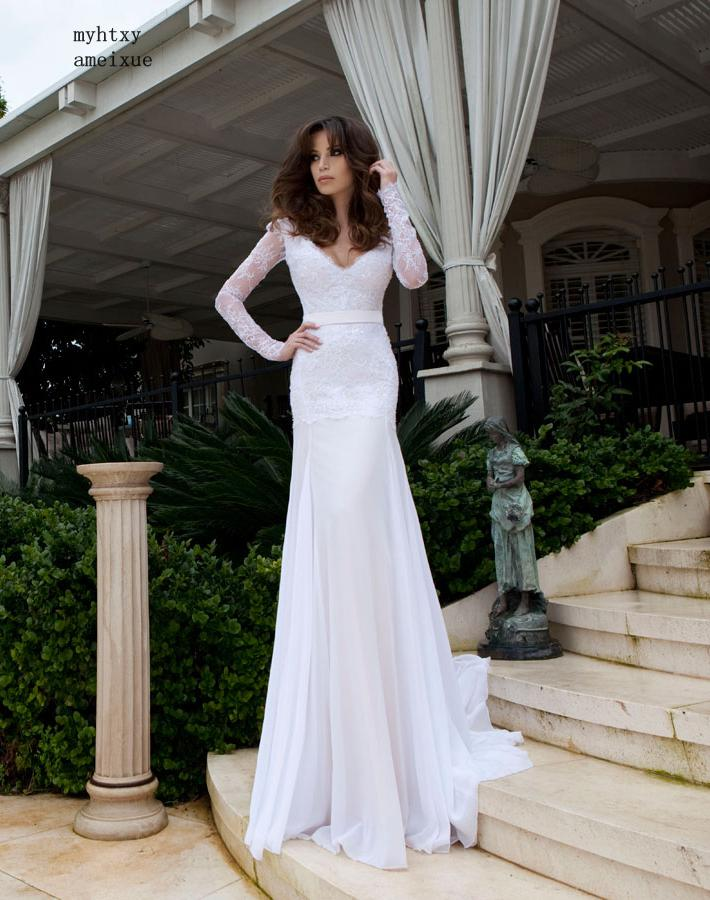 Summer Vestido Noiva Praia Sheath Cheap Wedding Dress 2019 Long Sleeve V-neck Lace Up Ribbons With Bow China Bridal Gowns