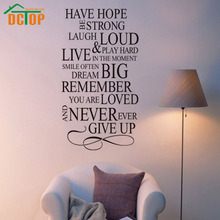 DCTOP Have Hope Be Strong Never Give Up House Rules Quote PVC Wall Decal Sticker Home Decor Living Room Wallstickers English(China)