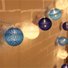 Blue Tone Cotton Ball String Light 10/20/30-Led Handmade Lanterns light string Home Decor Party Wedding Dancing String Lights(China)