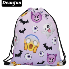 Deanfun 3D Printed Emoji Backpacks Purple Harajuku Funny Drawstring Bags Fashion for Girls SKD 108