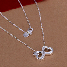 New Listing Hot selling  silver plated  inlaid crystal 8 characters Necklace Fashion trends Jewelry Gifts