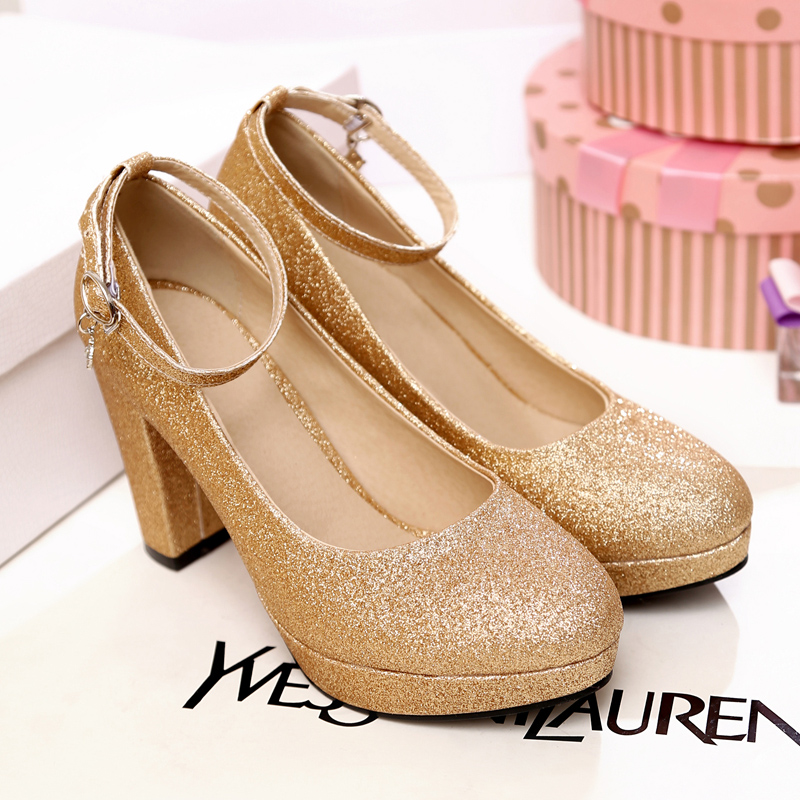 BISI GORO summer shoes women thick heel high heel pumps platform shoes women round toe gold wedding shoes women heels<br>