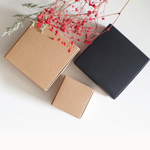 50pcs/lot 5x5x2cm~13 Retro Kraft Paper White/Black folding gift present packing Boxes, wedding Party favor earring handmade soap