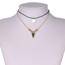 Simple Costume Accessories Gold Beads Leather Chokers Double Layer Triangle Faux Stone Necklace Indian Jewelry kolye
