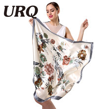 New Design Woman Silk bandana Scarf 90*90cm Square Satin Scarves for Women Muslim Hijab Head Scarf S9A9641(China)