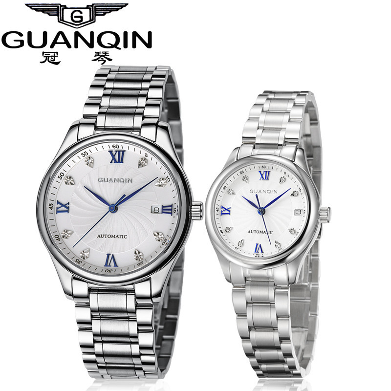 GUANQIN Luxury Lovers Watch Top Brand Women Men Watches Waterproof Sapphire Crystal 316L Stainless Steel Couple Watches 2 Pieces (5)