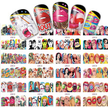 12 Designs Nail Sets Fashion Sticker Full Cover Lips Cute Printing Water Transfer Tips Nail Art Decorations 2017 New BN349-360(China)