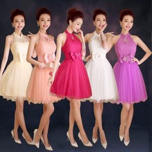 ZX518#2017 spring summer new halter Bow short red wedding bridesmaid dress party bride toast little champagne and pink dress(China)