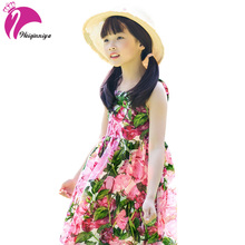 Summer Kids Dress For Girls Beach Girls Dresses Cotton Princess Vestido Kids Clothing Infant Flower Print Child Clothes