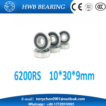 free shipping 10pcs 6200-2RS 6200 rs 10*30*9 mm double Rubber sealing cover deep groove ball bearing