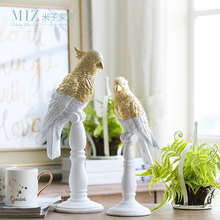 Miz 1 Piece Resin Figure Vintage Home Decor Accessory for Living Room Parrot Statue Desktop Accessory for Decoration