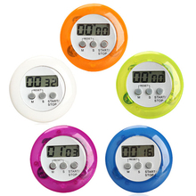 5Color Digital Alarm Clock Round Magnetic LCD Digital Kitchen Countdown Timer Alarm With Stand Kitchen Timers(China)