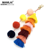 MANILAI Handmade Tassel Multicolor Pompom Bohemian Bag Pendant Long Key chain Women Jewelry Keychain Casual Bag Accessories(China)