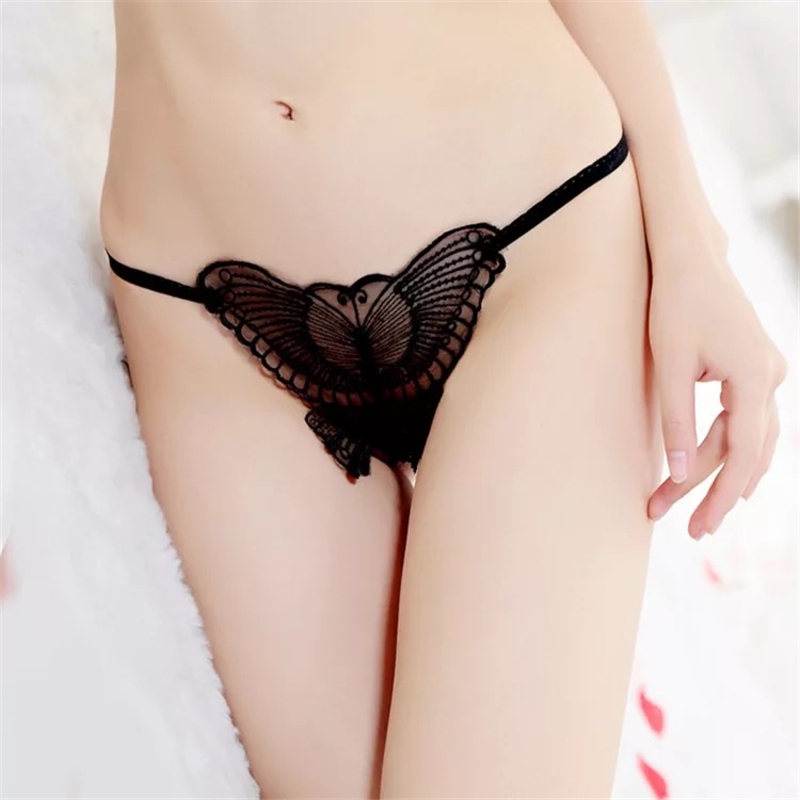 Hot Women Sexy Low Waist Crotchless T Pants Lace Transparent Underwear Lingerie femme Sex Erotic Open Panties