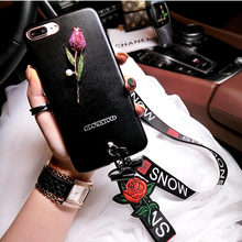 hand neck long rose strap bling diamond Rhinestones cover for apple iPhone 6 6s plus iPhone7 7plus 7P leather mobile phone case