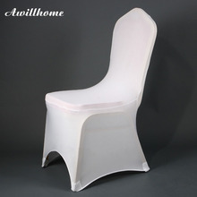 Awillhome shipping free 100pcs good quality white Spandex Chair Covers for wedding decoration event party(China)