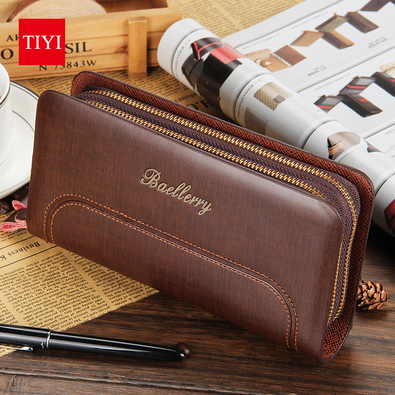 Famous Brand Leather Long Clutch Bag Men Wallets Large Capacity Men Clutch Bags Double Zippers Wallets Bag Cards Holder Carteira<br><br>Aliexpress