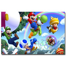 J1528- New Super Mario Bros. U Game Pop 14x21 24x36 Inches Silk Art Poster Top Fabric Print Home Wall Decor