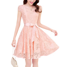 2017 NEW Summer Fashion Cozy women clothes Noble elegant short sleeve lace chiffon dress Korean casual sweet solid-Pink
