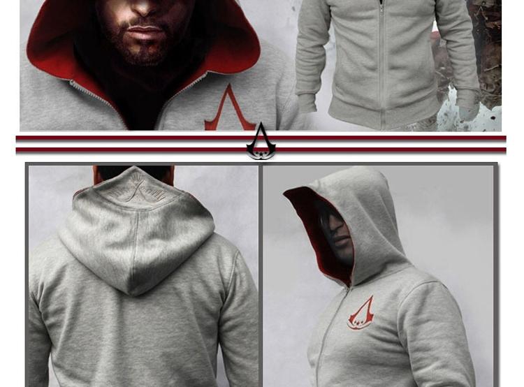 Fashion Men Assassins Creed Hooded Sweatshirt Hombre Autumn Winter Solid Hoodie Sweatshirts Men Cosplay Chadal Cool Clothing 3XL 5