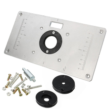 Multifunctional Aluminum Router Table Plate w/ 4 Router Insert Rings Screws for Woodworking Benches M03(China)