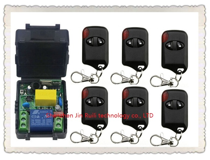 AC220V 10A 1CH Wireless Remote Control Switch System 1*Receiver + 6 *cat eye Transmitters for Appliances Gate Garage Door<br><br>Aliexpress