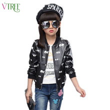 V-TREE 2016 winter children outerwear cartoon eyes Jackets for girls PU girls windbreaker leather jacket coat 8 10 12