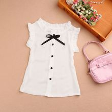 New 2017 Summer Chiffon White Child Girls Tops And Blouses Short Sleeve Bow Baby Teenage School Girl Blouse Shirt Kids JW1785
