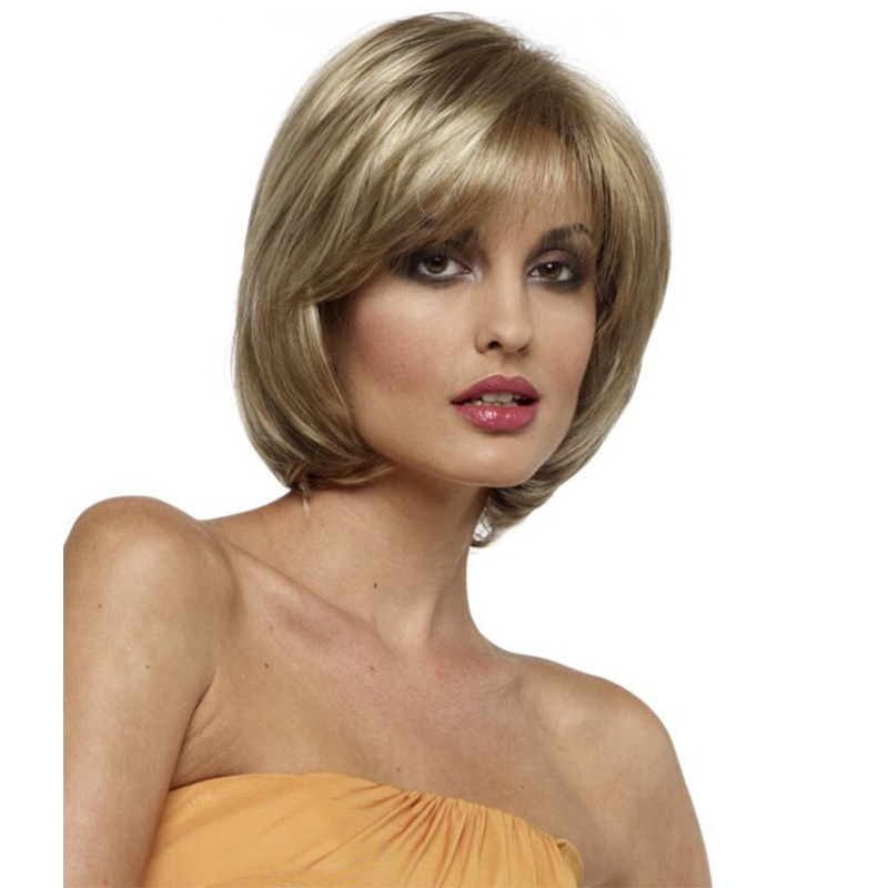 Classic Style Bob Blonde Straight Capless Synthetic Hair Wigs For Women About 10 Inches<br><br>Aliexpress