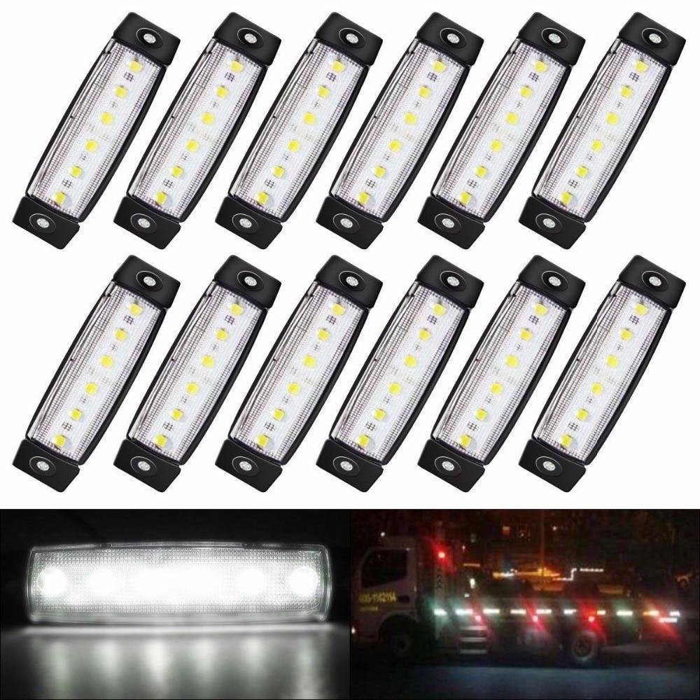 etc 10pcs 12V//24V 6 LED Side Marker Clearance Lights for Pickup//Truck//Trailer