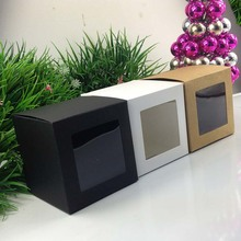 Wholesale 10*10*10cm Black  Window Box Packing Custom Gift Boxes Candy/Cake/Soap/Cookie/Cupcake Display packaging Box