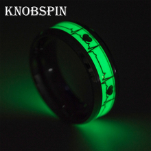 Retro Men Women Luminous Heart Ring Stainless Steel Electrocardiogram Ring Romantic Jewelry for Lovers Glow In The Dark(China)