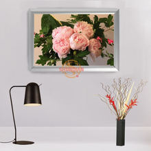 New arrival Custom Aluminum Alloy Painting Frame Home Decor peony flower Canvas Fabric Print Poster Frame H00217-109(China)