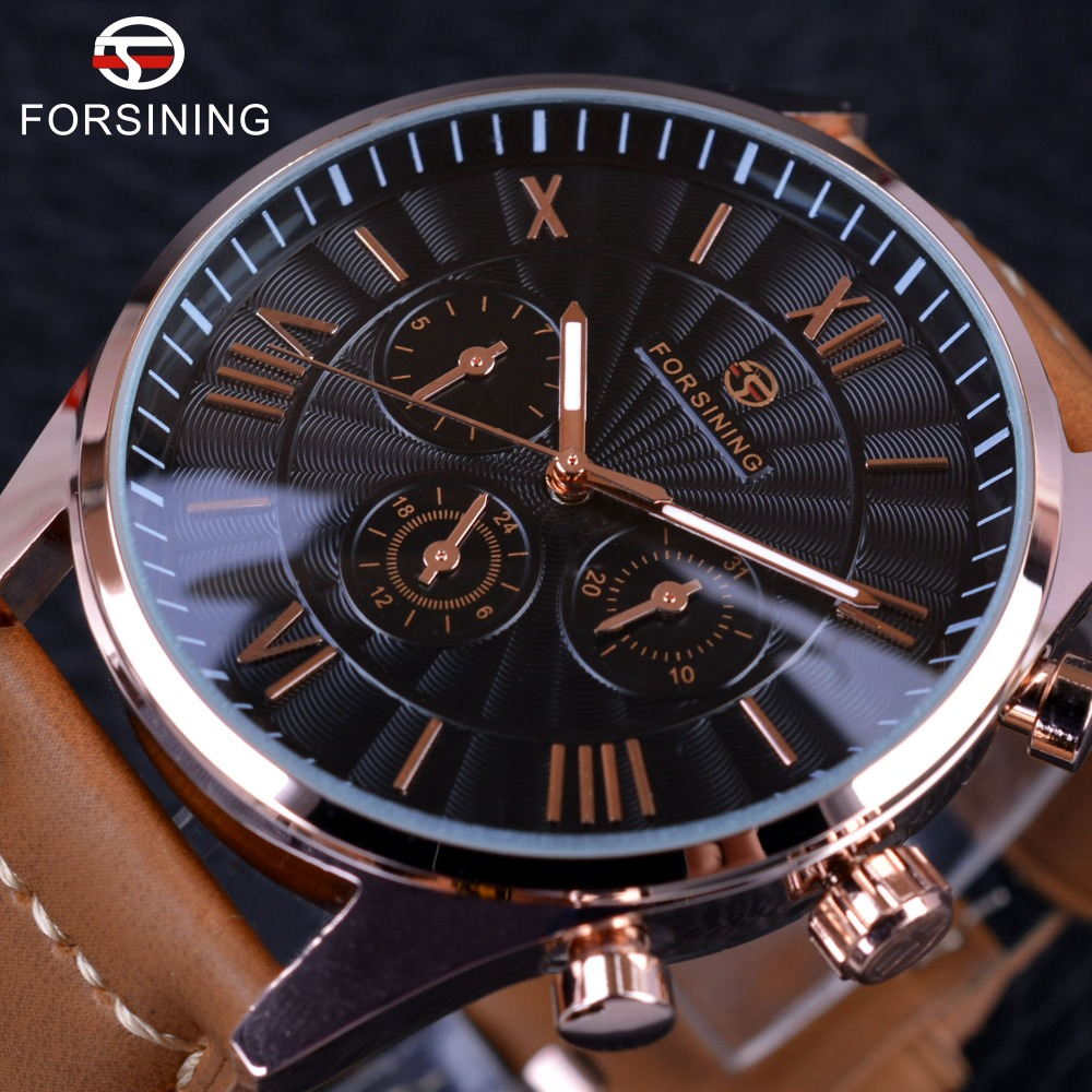 Forsining 2017 Fashion Swirl Dial Design Brown Genuine Leather Band Mens Watches Top Brand Luxury 3 Dial Display Automatic Watch<br>