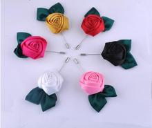 12pcs Colorful Flower Brooch Classic Leaf Fashion Lady New Lapel Pin Boutonniere Suit Wedding Party Long Lapel Pin