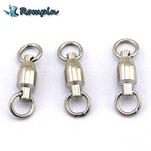 Rompin 10Pcs/lot Heavy Duty Ball Bearing Stainless Steel Fishing Rolling Swivels Connector Hook Solid Rings Size 0/1/2/3/4/5#(China)