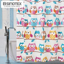 1 PCS Shower Bath Curtain Cute Owls 180x180cm Bathroom Products Waterproof EVA Fashion Curtain With 12 Hooks(China)