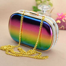 2017 Rainbow Color Evening Bag For Women Top Quality Crystal Day Clutch Bridal Wedding Dress Handbag Purse With Gold Chain Bolso