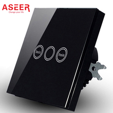 ASEER,DropShip EU Standard Touch Timer Switch 1000W,Black Crystal Glass Panel,AC110~240V,3-9 min Time Delay Wall Light Switch