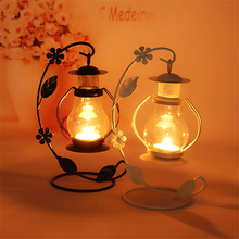 2 Colors Wedding Gift Metal Lantern Iron Candle Holder House Decoration Iron Lanterns For Candles Candle Lantern Candlestick