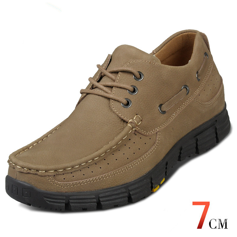Khaki Nubuck Leather Casual Height Increasing Elevator Shoes Get Taller 2.76 Inches/7CM - Business Casual Shoes<br><br>Aliexpress