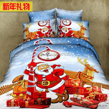 Christmas gift noel Santa Claus red 4pcs 3d bedding full queen size duvet covers quilts comforter pillow bed Linen sets