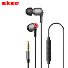 volemer in-ear wired earphones Stereo Bass Ear Phones Headset Microphone Earphone With Mic For Phone Xiaomi Sony Mp3(China)