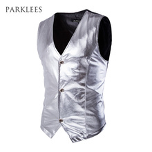 Mens Night Club Slim Metallic Silver Suit Vest Casual Slim Fit Tuxedo Costume Vest Stage Wedding Sleeveless Causal Waistcoat Men(China)