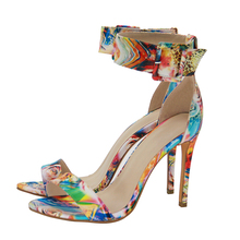 2017 fashion high heels sexy printing sandals for woman wedding party pu shoes fish mouth plus size(China)